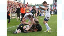 Ulster's Nick Timoney scores the bonus point try against Glasgow Warriors.