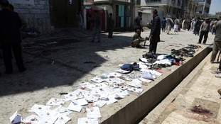 Identification papers outside the registration centre that was targeted by IS on Sunday.