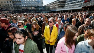Hundreds of fans of Avicii gather to honour him at Sergels torg in central Stockholm.