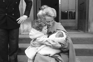 Princess Michael of Kent with Lord Frederick Windsor and new baby Lady Gabriella Windsor leaving St Mary's Hospital in 1981.