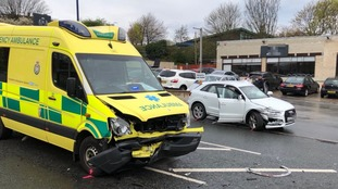 The ambulance was involved in a collision with an Audi car