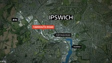 The crash happened in Ipswich on Sunday night.