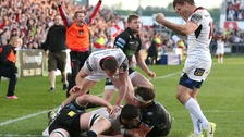 Ulster's Nick Timoney scores the bonus point try against Glasgow Warriors