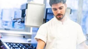 Matt Campbell seen working as a professional chef