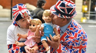 Royal fans John Loughrey (left) and Terry Hutt hold dolls outside the Lindo Wing at St Mary's Hospital