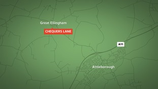 The girls were approached on Chequers Lane at Great Ellingham