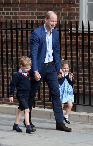 The Duke of Cambridge with Prince George and Princess Charlotte arriving at the Lindo Wing (Kirsty O'Connor/PA)