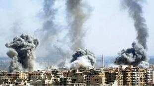 Explosions from Syrian government attacks on Douma