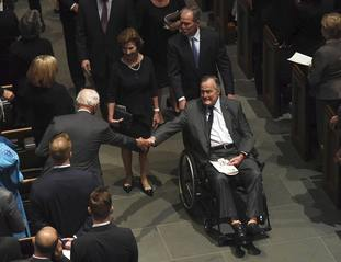 George H W Bush at the funeral of his wife Barbara Bush (Jack Gruber /USA Today via AP)