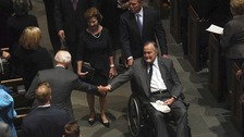 George HW Bush in hospital a day after wife's funeral