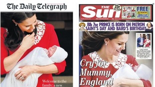 Images of Kate cradling the young prince in her arms feature on nearly all the front pages.
