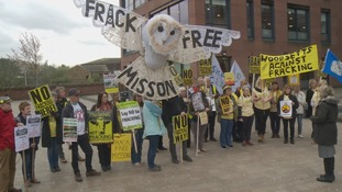 Anti-fracking campaigners stage protest in Rotherham