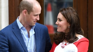 The Duke and Duchess of Cambridge feeling a wave of emotions pictured just hours after the bird of their new son.