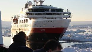 MV Fram seen from HMS Protector.