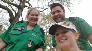 St John Ambulance volunteer Ollie Needham and his colleague.