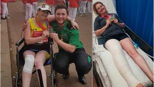 Dorset teacher 'piggy-backed' through London Marathon with broken leg