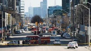 Emergency services closed Yonge Street following the attack.