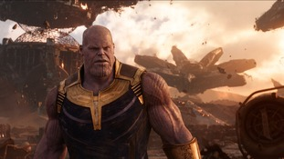 Josh Brolin as Thanos in a scene from Avengers: Infinity War.