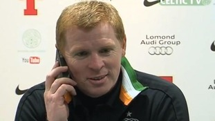 Celtic manager Neil Lennon interrupted by phone call from journalist's wife