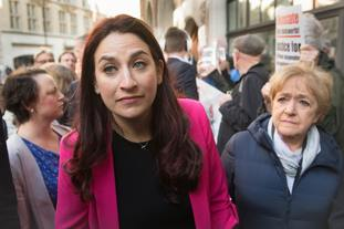 Labour MPs Luciana Berger and Margaret Hodge outside the hearing