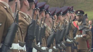 Soldiers from the Catterick Garrison line up in formation at the Richmond Castle ceremony