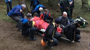 Cockermouth Mountain Rescue Team assisting the biker