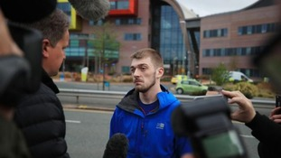 Alfie's dad Tom, who has been at the centre of the life-support treatment fight, stood outside Liverpool's Alder Hey Children's Hospital.