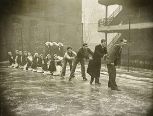 Photos show off-duty fun, such as this one of nurses and students ice-skating on a tennis court at the London Fever Hospital.