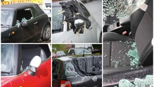 Vandals wrecked 15 cars along one street while residents slept