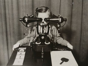 A young girl has her eyes tested at King Edward VII Memorial Children's Hospital in Birmingham in 1941.