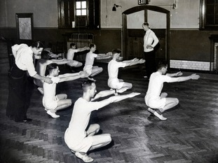 Patients take part in a physical training class in Epsom in 1941.