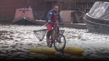 Plastic pollution: Meet the man cleaning up the canal on his bike