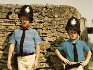 The princes dressed up as police officers as children.