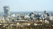 Explosions from Syrian government attacks on Douma.