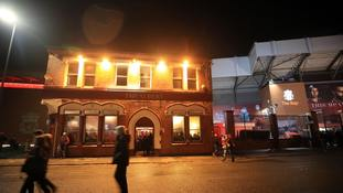 The Albert after the Champions League match at Anfield, Liverpool.