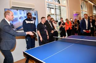 During their visit the royal brothers tried their hand at table tennis
