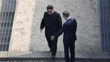 North Korean leader Kim Jong Un crosses the military demarcation line.