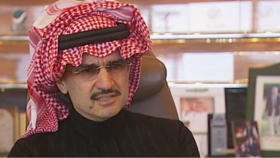 Prince Al-Waleed bin Talal speaking to ITV News