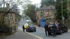 Armed Police seen on Halifax Road in Dewsbury
