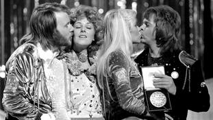 Pop group Abba congratulate each other in Brighton after winning the Eurovision Song Contest.
