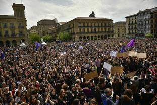 Thousands of people at Plaza del Castillo in Pamplona.