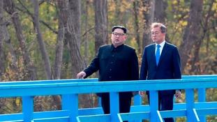 North Korean leader Kim Jong Un during the summit with South Korean president Moon Jae-In.