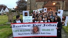 Family and friends gathered for the march in memory of John Pordage