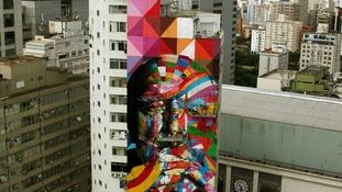 The mural portrays the late Brazilian architect Oscar Niemeyer