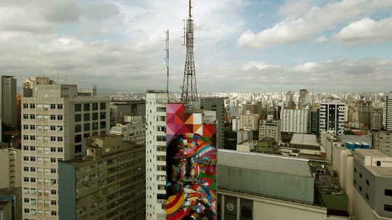 The graffiti work is in the financial district of Sao Paulo