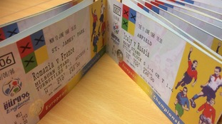 An entire set of European Football Championship '96 tickets have been found in an old suitcase - unused