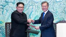 North Korean leader Kim Jong Un, and South Korean President Moon Jae-in