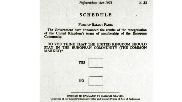 The ballot paper for the 1975 European Referendum