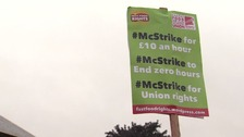 Workers at McDonald's in Cambridge are on strike