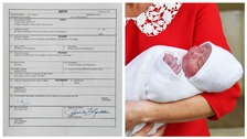 Prince Louis and his official birth certificate.